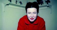 Simone de Beauvoir (1908-1986), Ècrivain franÁais. Paris, 1957.