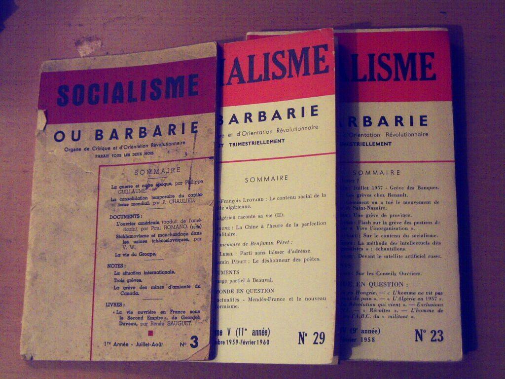 εξώφυλλα του περιοδικού σοσιαλισμός ή βαρβαρότητα
