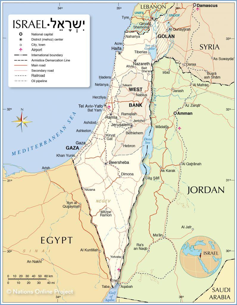 χάρτης ισραήλ